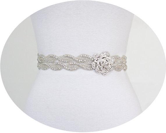 SALE - TRINITY - Flower Crystal Rhinestone Bridal Belt