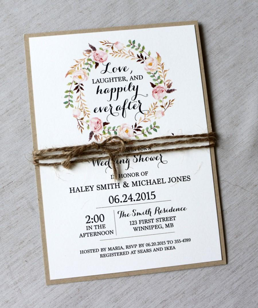 Rustic Bridal Shower Invitations, Floral Bridal Shower Invites ...