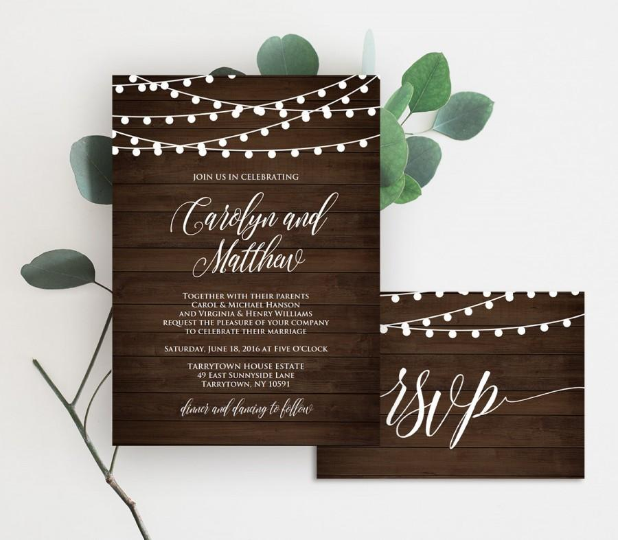 Mariage - Wedding Invitation Template, Printable Rustic Wood String Lights Invite Set, RSVP, Details, DIY, Instant Download, Editable PDF File