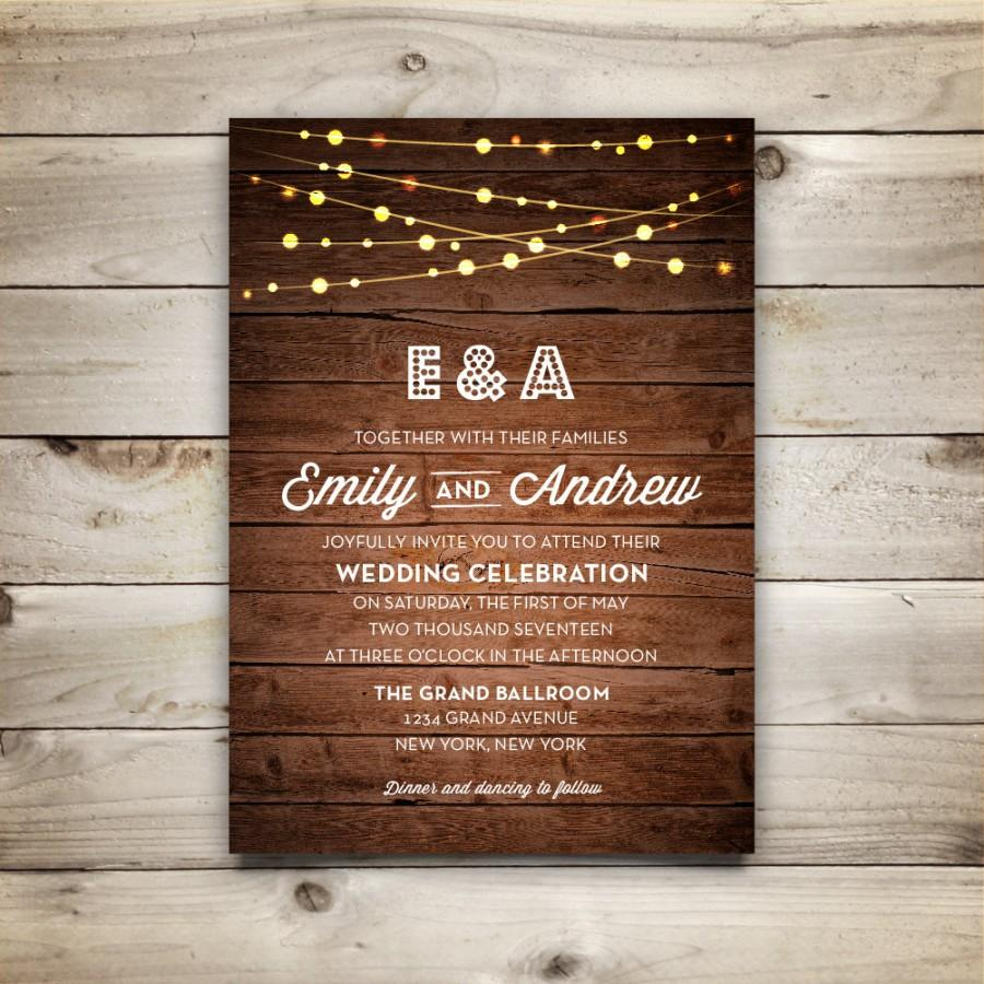 Wedding invitation template printable wedding invitation diy wedding invitation template printable wedding invitation diy rustic invitation template instant download string lights collection stopboris Images