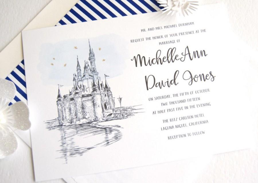 Disney World Cinderellas Castle Fairytale Wedding Invitation