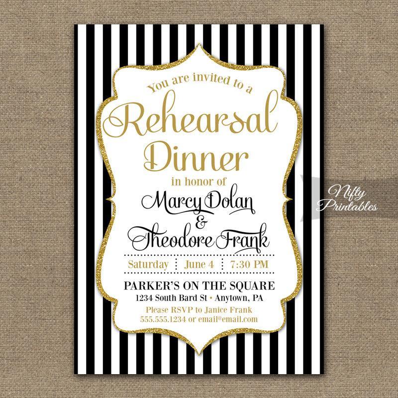 Mariage - Rehearsal Dinner Invitation - Printable Black & White Rehearsal Dinner Invites - Black Gold Wedding Rehearsal Invitations BGL