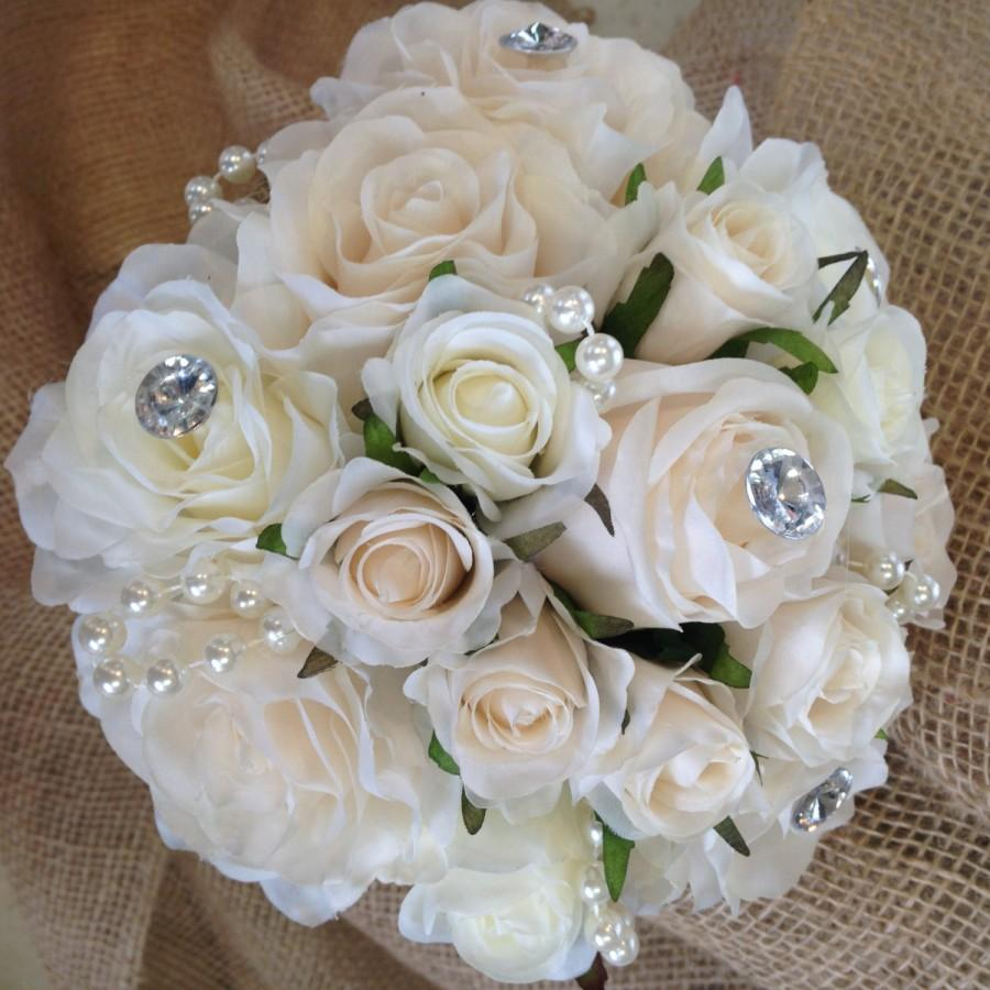 Mariage - Beautiful Vintage Inspired Silk Rose Wedding Bouquet.