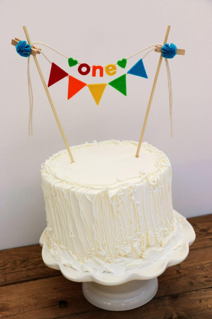First Birthday Cake Banner Rainbow One Bunting