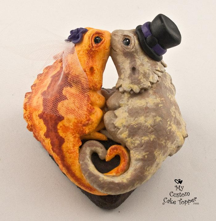 Wedding - Bearded Dragons Custom Wedding Cake Topper