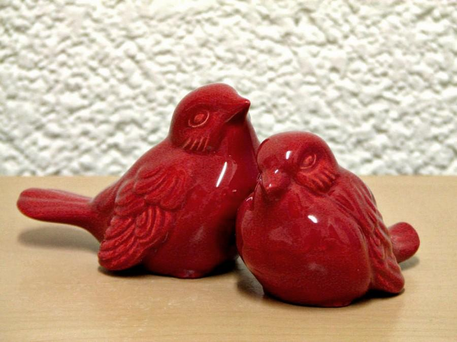 Hochzeit - Ceramic Love Bird Figurines Beautiful Tuscan Red Vintage Design Wedding Cake Bird Toppers and Home Decor - Made to Order