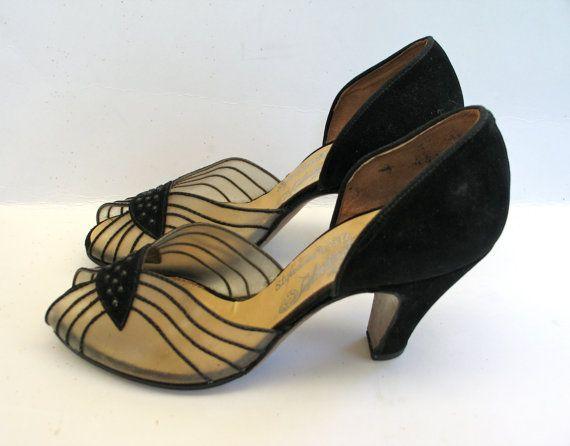 Mariage - 1940s Shoes - Vintage Evening Pumps