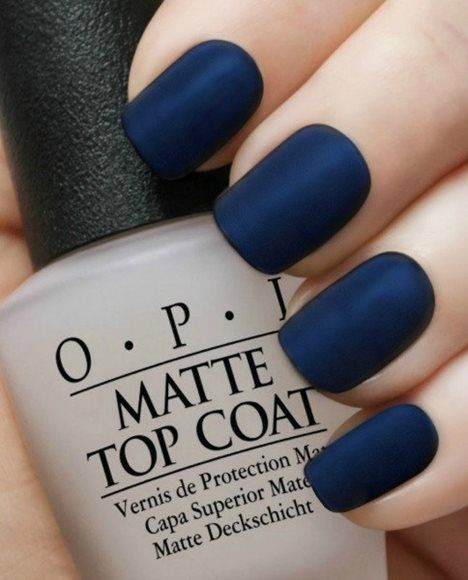 Wedding - Matte Navy Manicure~OPI Russian Navy,OPI Matte Top Coat Nail Polish Set