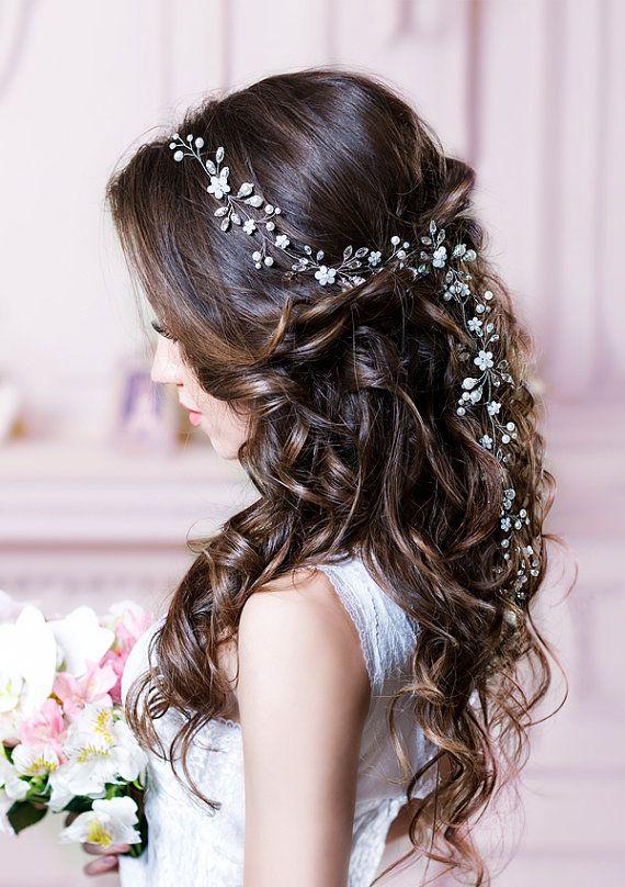 Bridal Hair Vine Long Wedding Flower Headpiece Pearl Hairpiece Crystal