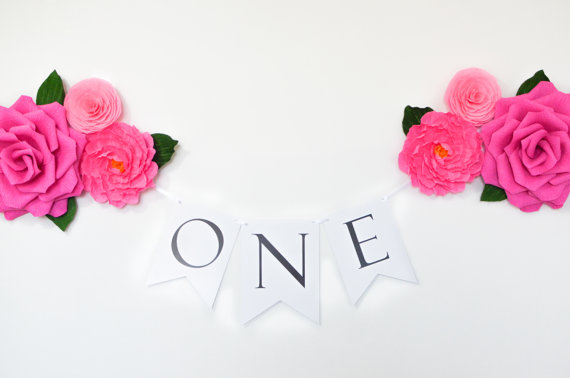 Wedding - Paper Flowers and Birthday Banner - First Birthday Banner - ONE Banner - First Birthday Decorations - Pink Birthday Banner - 1st Birthday