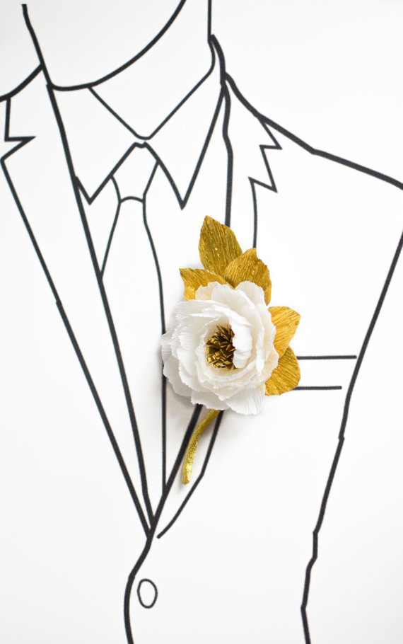 Wedding - Wedding Boutonniere/Paper Flower Boutonniere/Gold and White Boutonniere/Groom's Boutonniere/ Wedding Boutonniere
