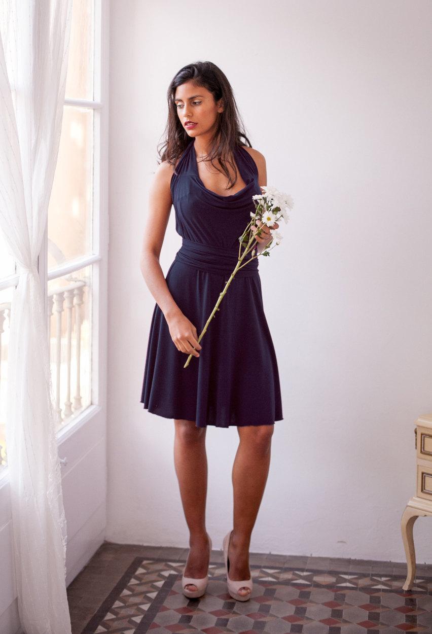 Mariage - Navy bridesmaid dress, navy blue wrap dress, long sleeve dress, long sleeve bridesmaid dress, blue bridesmaid dress, short bridesmaid dress