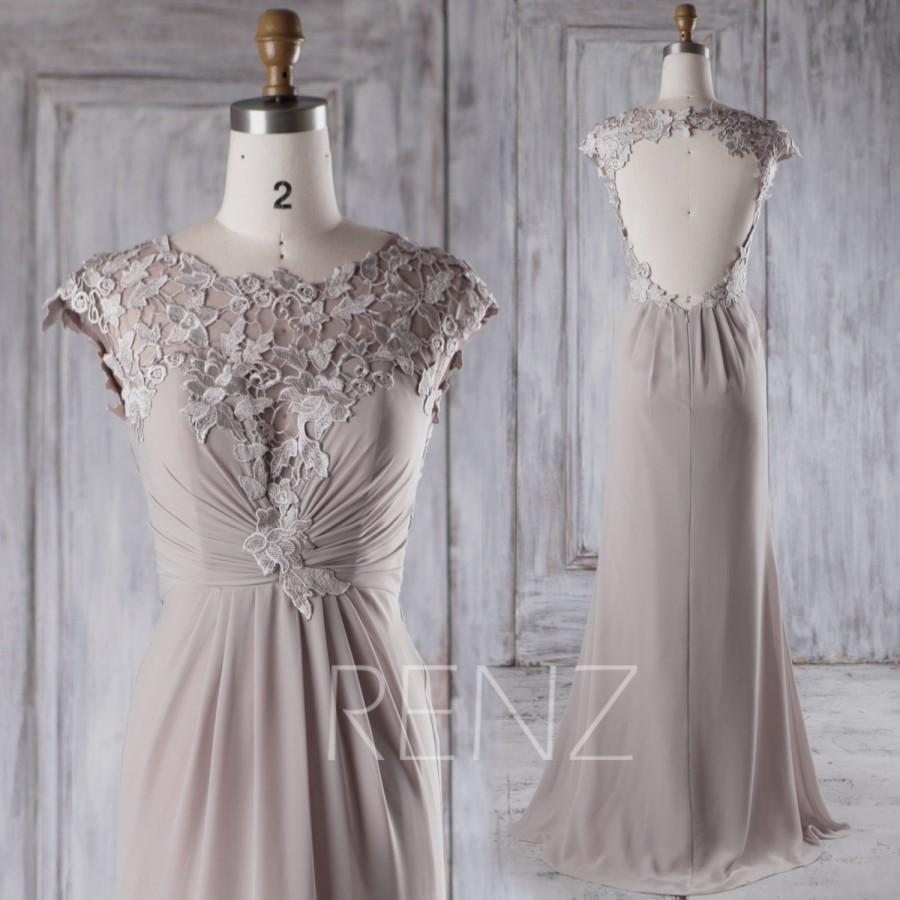 Mariage - 2016 Light Gray Chiffon Bridesmaid Dress, Lace Cap Sleeves Wedding Dress, Sweetheart Illusion Prom Dress, Ball Gown Floor Length (H359)