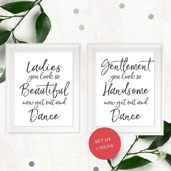 Wedding - Stylish Hand Lettered Wedding Bathroom Sign-Printable Calligraphy Ladies & Gentlemen Restroom Sign-DIY Handwritten Beautiful and Handsome
