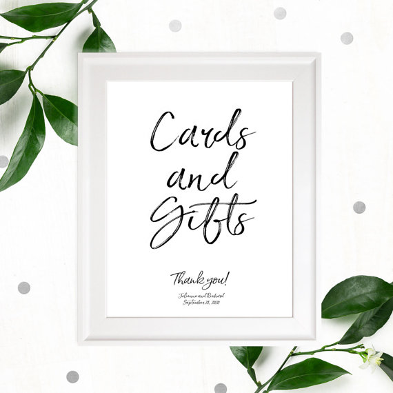 Stylish hand lettered cards and gifts wedding sign