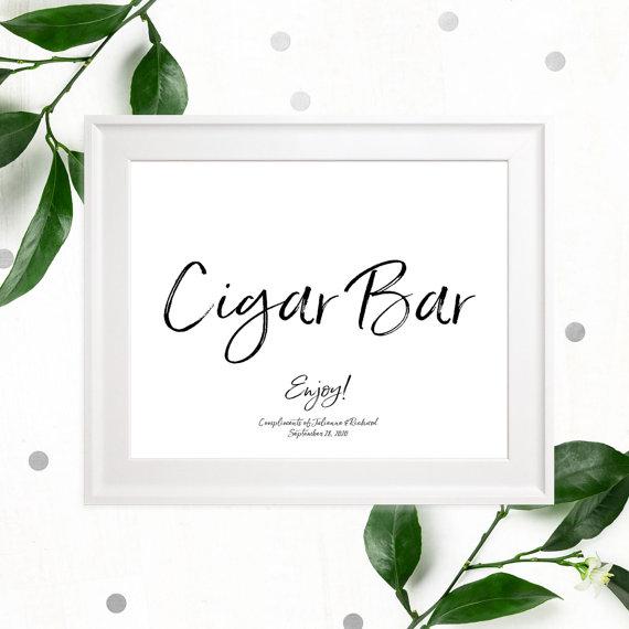 زفاف - Stylish Hand Lettered Cigar Bar Wedding Sign-Printable Calligraphy Cigars Sign-DIY Handwritten Style Cigar Favors Sign-Cigars Sign