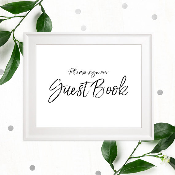 Mariage - Stylish Hand Lettered Printable Guest Book Sign-Calligraphy Guest Book Sign-DIY Handwritten Style Wedding Decor-Please Sign our Guest Book