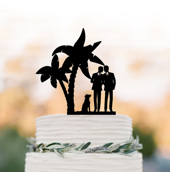 Wedding - Gay Wedding Cake topper with dog. Gay silhouette wedding cake topper same sex mr and mr, funny wedding cake topper tree, unique cake topper