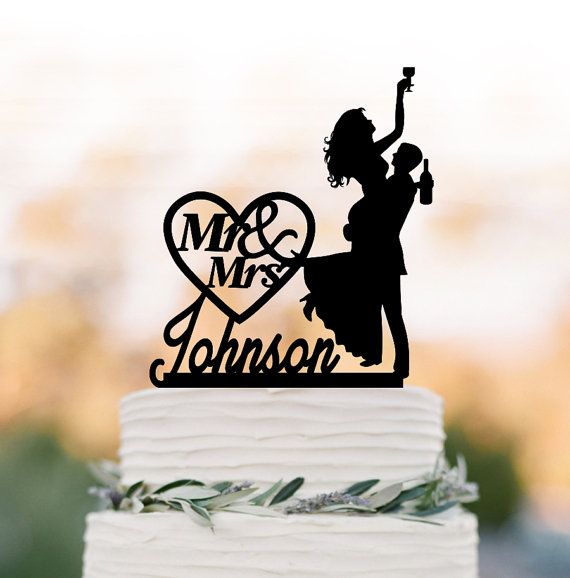Hochzeit - Drunk Bride Wedding Cake topper mr and mrs, bride and groom silhouette, personalized wedding cake topper name, funny cake topper figurine