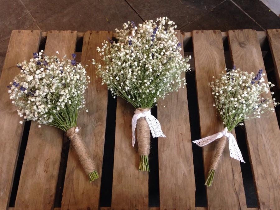 Bridal Bouquet Dried Gypsophila Baby\'s Breath English Lavender ...