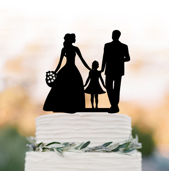 Mariage - Family Wedding Cake topper with girl, bride and groom silhouette wedding cake toppers, funny wedding cake toppers with child