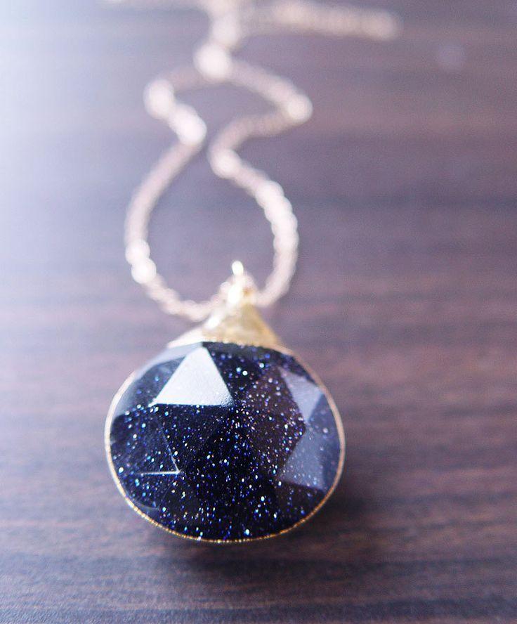 زفاف - Midnight Goldstone Star Necklace