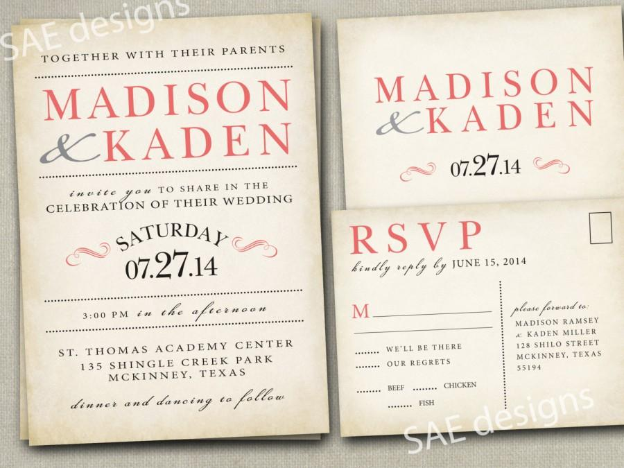 Mariage - Wedding Invitation Invitations Invite Invites Announcement Announcements RSVP Cards Postcards Coral peach vintage rustic gray yellow navy +