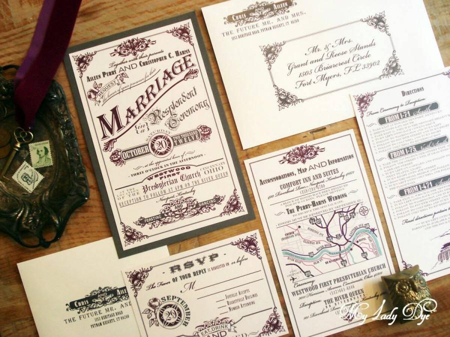 Mariage - 100 Vintage Wedding Invitations - Steampunk Wedding Invitations- Shelley Collection - Rose, Floral, Banner, Border - By My Lady Dye