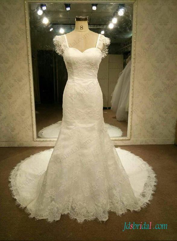 Wedding - Lovely cap sleeved lace mermaid wedding dress