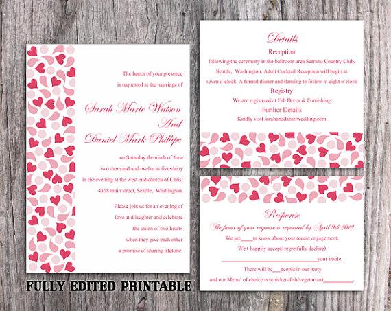 Wedding - Printable Wedding Invitation Suite Printable Invitation Pink Red Wedding Invitation Heart Invitation Download Invitation Edited PDF file