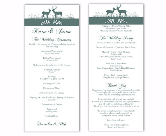 Wedding - Wedding Program Template DIY Editable Word File Instant Download Program Gray Wedding Program Blue Program Printable Wedding Program 4x9.25