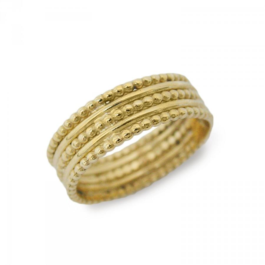 Mariage - African queen wedding ring. Gold wedding ring. Ethnic wedding ring. Unique ring. 14k yellow gold ring. Wide wedding ring (gr-9288-1426)