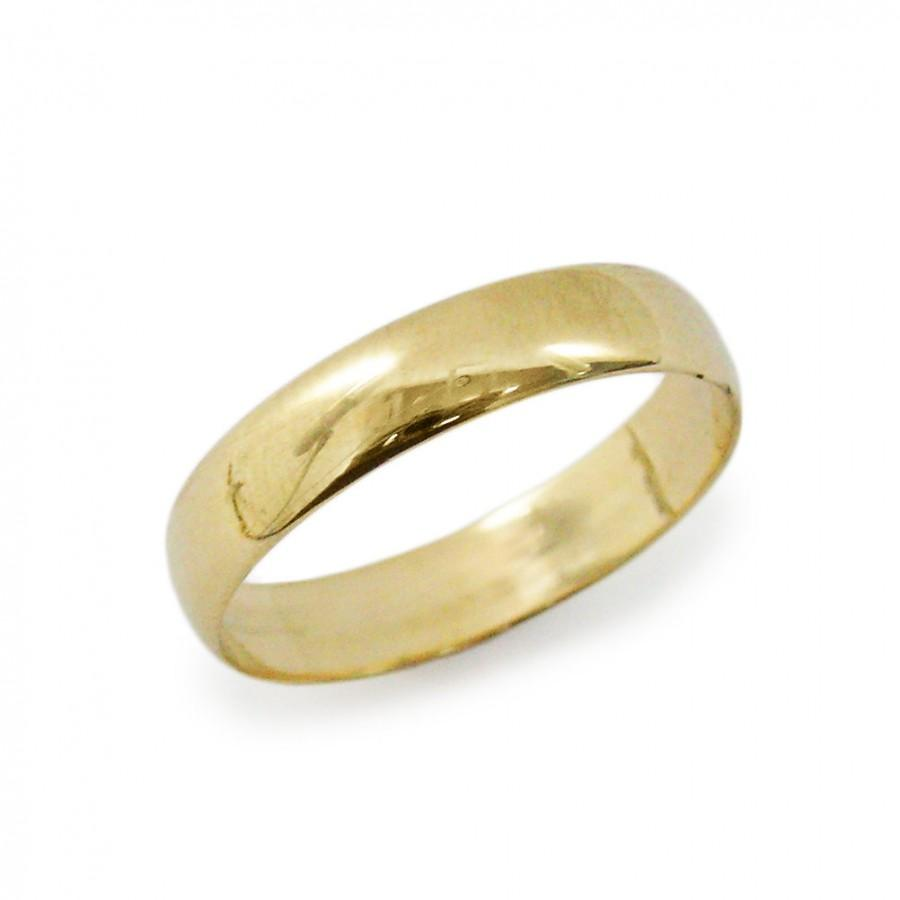 Wedding - Men classic 4mm width wedding ring. Classic wedding ring. Gold wedding ring. - 14k yellow gold  unisex wedding ring. (gr-9294-1447)
