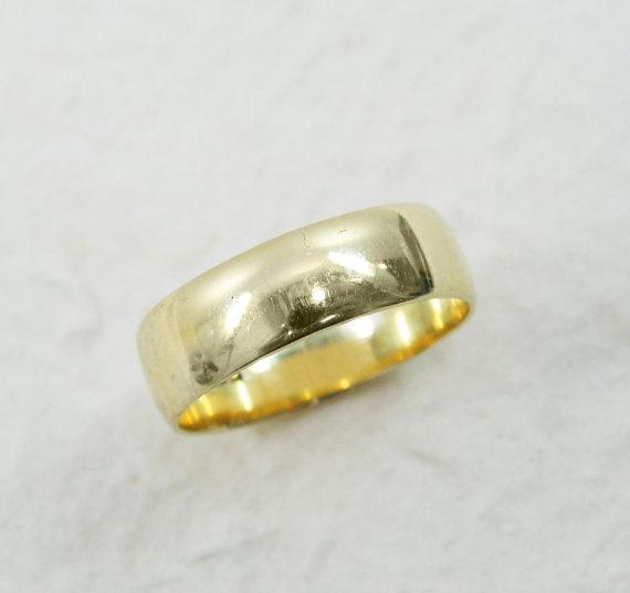 Wedding - Classic wedding ring. 6mm wedding ring. Rounded wedding ring. 14k yellow gold wedding ring. Wide wedding ring.(gr-9293-1446)