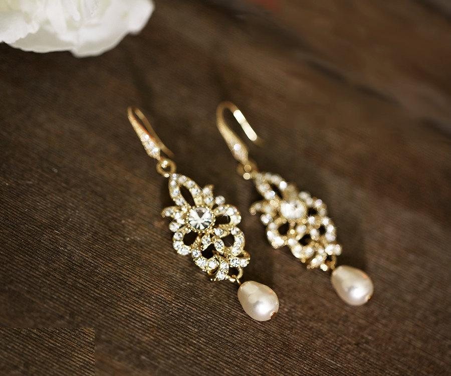 Wedding - Vintage inspired bridal earrings, wedding jewelry, Swarovski crystal earrings, chandelier earrings, Gold wedding earrings, wedding accessory