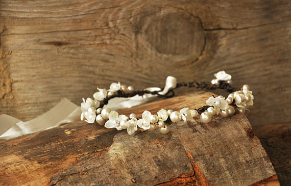 Wedding - white head wreath. Wedding flower crown, Hair floral crown, Wedding Hairpiece, Rustic Head Wreath, wedding Accessories, flower headband,