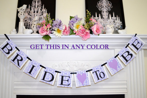 Mariage - Bride to be banner, bridal shower decor, bachelorette decorations, Purple bridal shower banner, purple wedding banners