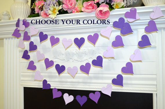 Mariage - Purple heart Garland, Heart Garland, Wedding Decorations violet hearts birthday party decor, bridal shower decor, party garlands, photo prop