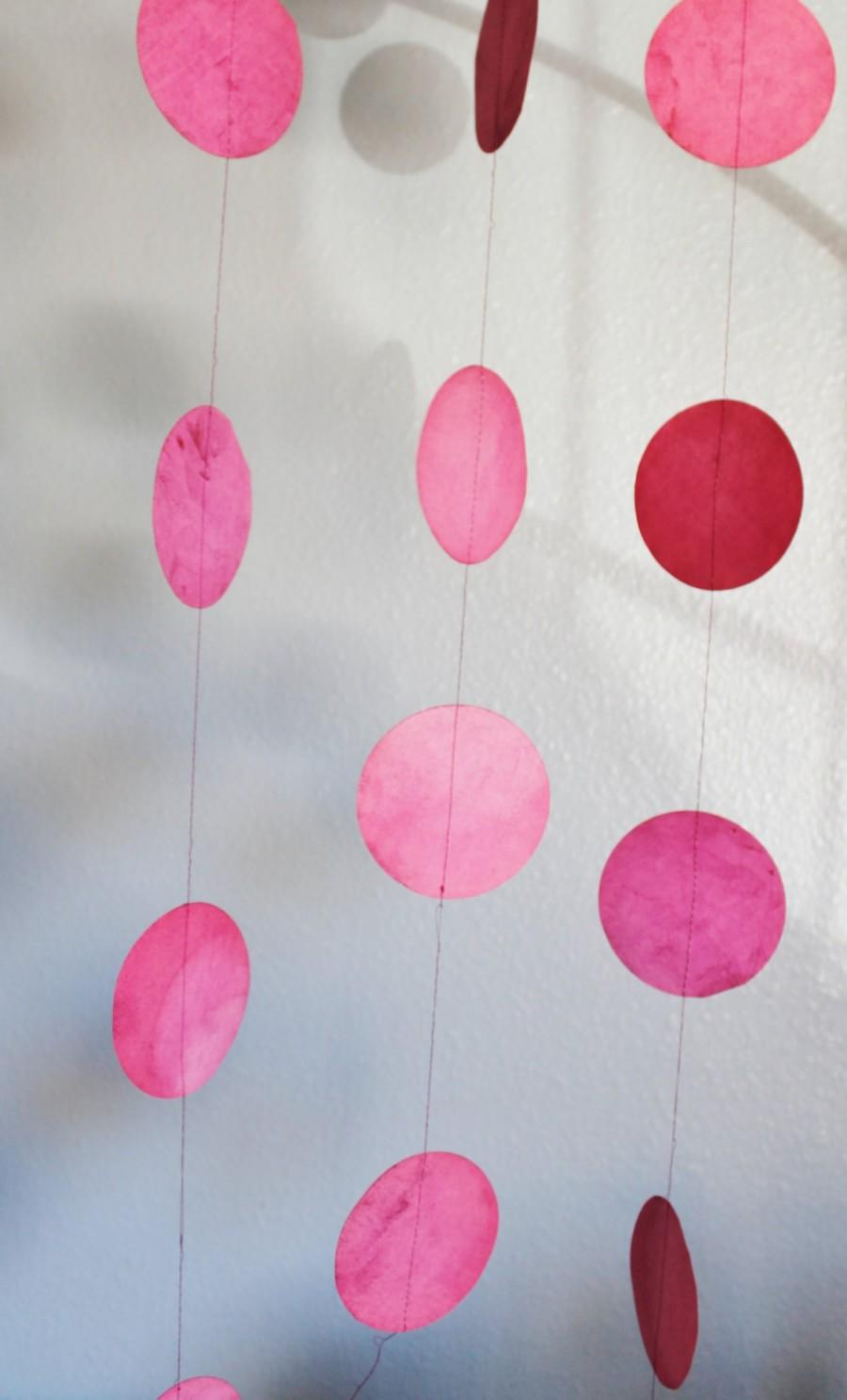 Mariage - Paper Watercolor Dot Garland for your wedding, event or home ~ Poppy Pink