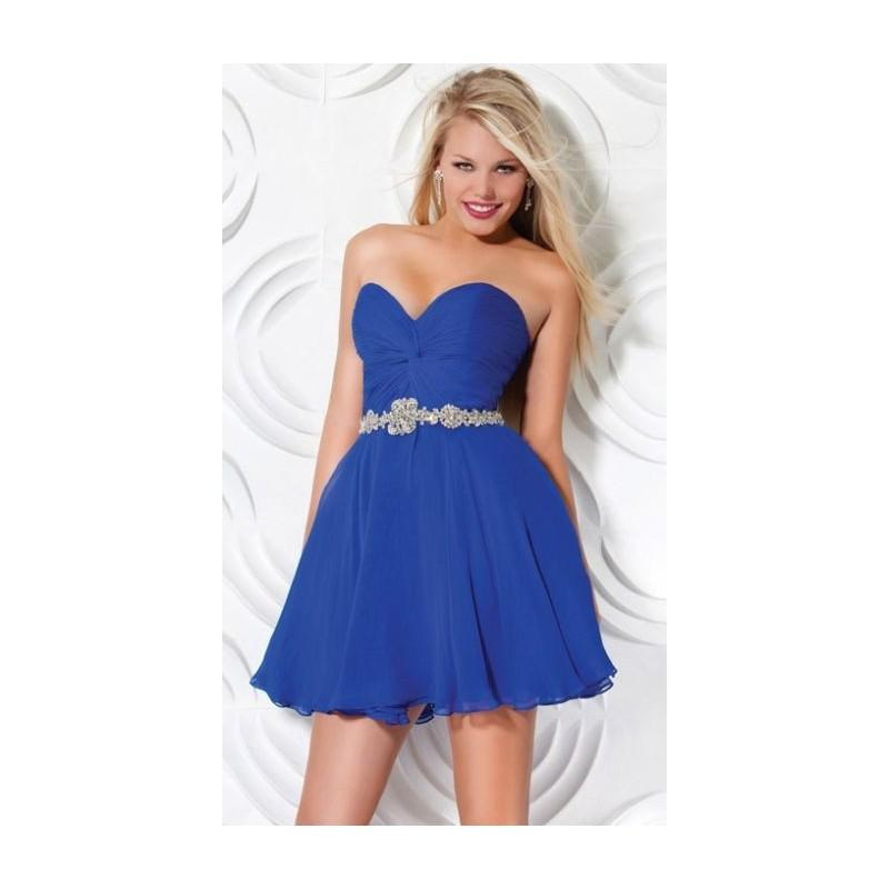 Nozze - Jovani Strapless Chiffon Short Homecoming Dress with Beaded Belt 9584 - Brand Prom Dresses