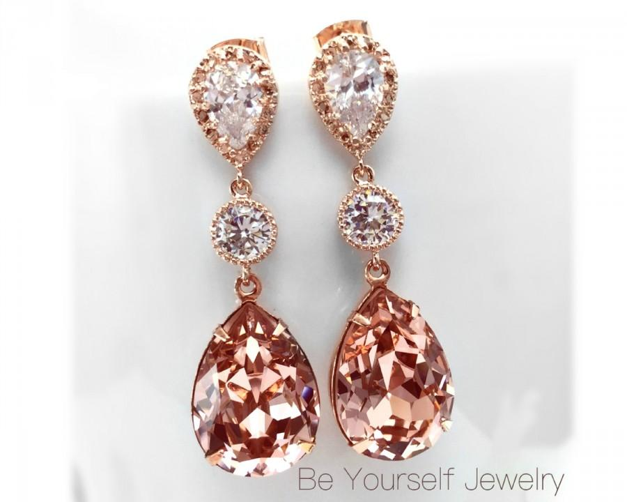 f564722eec421 Blush Bridal Earrings Rose Gold Bride Earrings Soft Pink Wedding ...