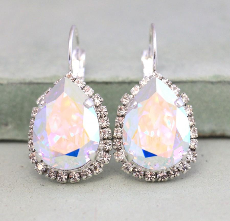 Mariage - AB Crystal Earrings,Aurora Borealis Earrings,Ab Swarovski Earrings,Ab Rhinestone Earrings,Bridal AB Silver,Bridal Silver Crystal Earrings