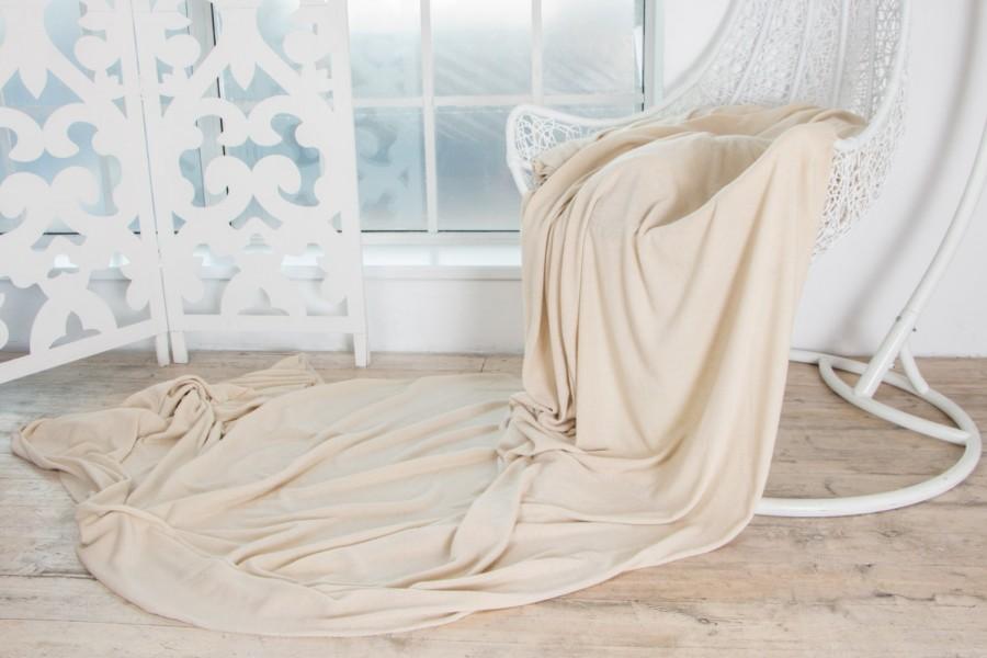 Wedding - DUSTY IVORY Luxury Wool Viscose Angora Knit Italian Fabric Limited Edition - Mediumweight Soft Natural Exclusive by the yard - Sewing DIY