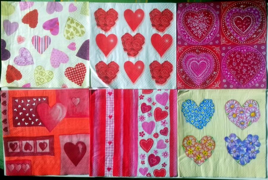 Mariage - Paper napkins for decoupage, 6 pc napkin set, Valentine napkins, decoupage serviettes, decoupage paper, heart napkins, heart decoupage