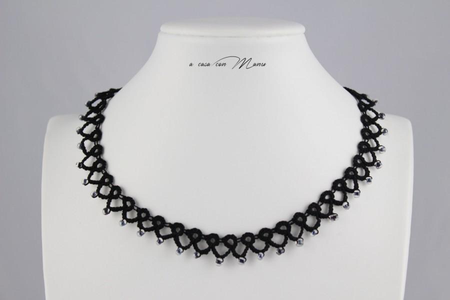 Mariage - Collana nera pizzo chiacchierino, black lace necklace tatting, frivolite bijoux, tatting necklace, regali per lei, handmade, made in Italy