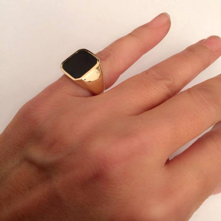 Black Onyx Ring Signet Women Men Stone Pinky Square Engagement
