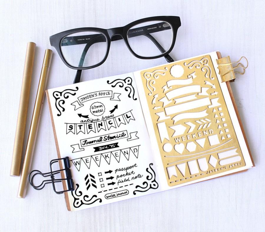 Hochzeit - Planner Stencil, Bullet Journal Stencil, Banner and Flag Stencil - fits pocket, passport and field  note