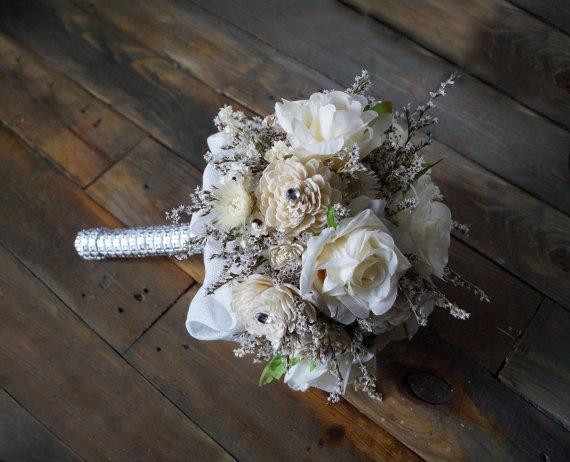 Wedding - Wedding bouquet Bridal Bouquet Artificial Flowers Sola Flowers Dried Flowers Glamour Wedding Romantic Weddings Ecru Roses Hollywood Chic