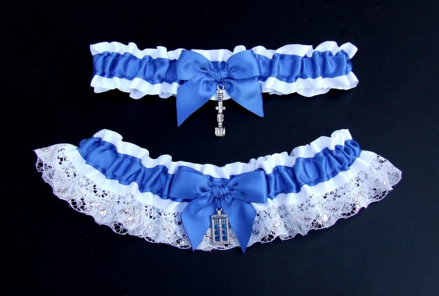 Wedding - Dr Who Garter Set / Tardis or Gas Mask with Sonic Screwdriver in Royal or Navy Blue w/ White & Silver Lace / Police Box Doctor
