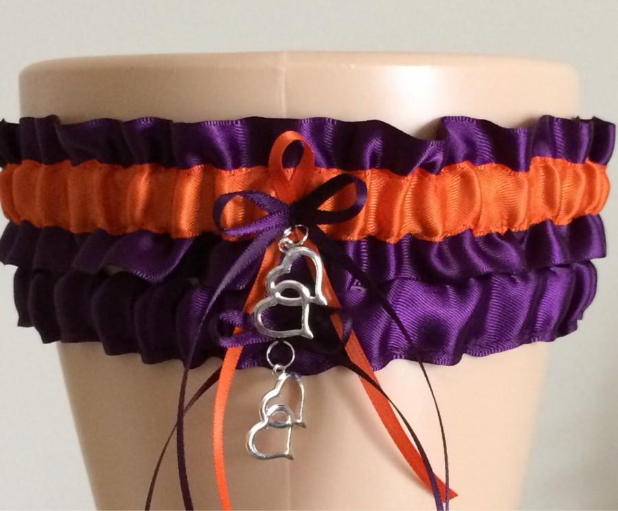 Свадьба - Plum Purple and Orange Wedding Garter Set, Bridal Garter Set, Keepsake Garter,